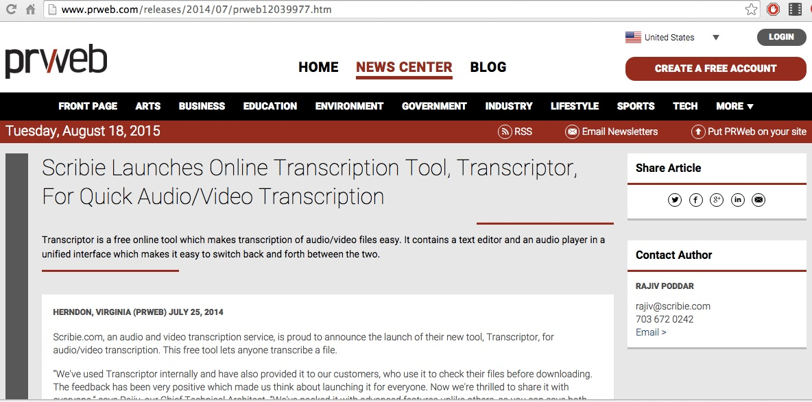 Online Audio Transcription Editor
