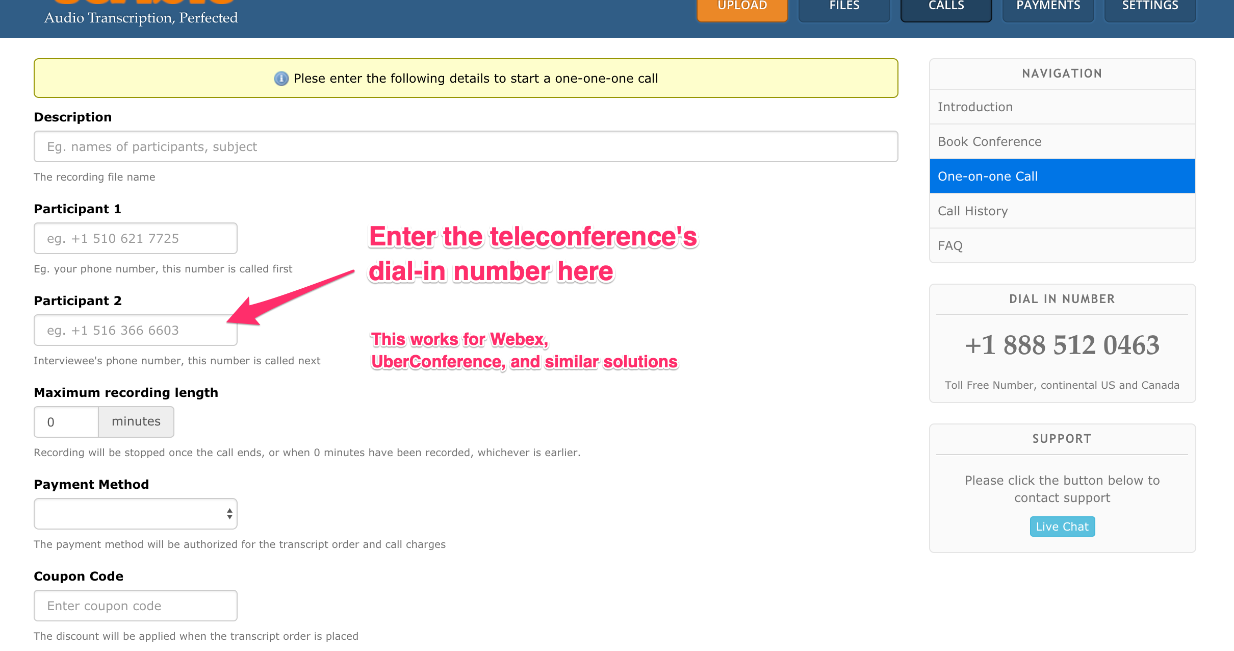 Add the Teleconference Dial-in Number